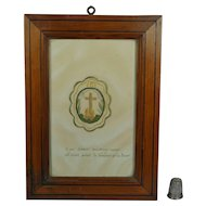 Antique French Needlework On Paper Colifichet Sacred Heart Ex Voto Circa 1840