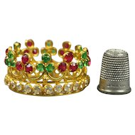 Antique French Miniature Santos Crown Doll Couronne Colored Paste Jewels Circa 1890