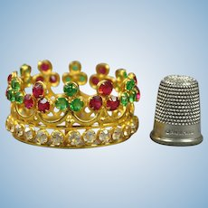 Antique French Miniature Religious Crown Santos Doll Couronne Colored Paste Jewels Circa 1890