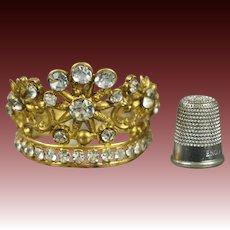 Antique French Miniature Religious Santos Crown Doll Poupee Diadem Tiara Paste Flower Circa 1870