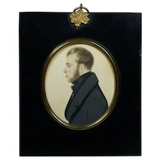 19th Century Portrait Miniature Handsome Young Regency Gentleman English Watercolor on Card Circa 1820