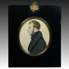 19th Century Portrait Miniature Handsome Young Regency Gentleman English Watercolor on Card Circa 1820