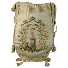 18th Century French Sewing Work Bag Reticule Silk Embroidery Dog Cupid Rare Louis XVI C 1785 Georgian