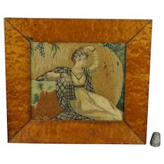 Antique Regency Miniature Needlework Silkwork Woolwork Embroidery Circa 1810