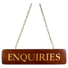 Original Vintage English 1930's Wooden Enquiries Sign, Office, Business, Trade Counter
