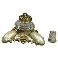 Antique 19th Century French Palais Royal Inkwell Mother of Pearl Circa 1840