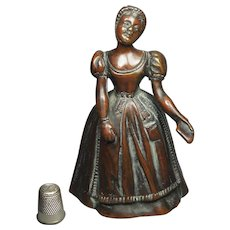 Antique 19th Century French Bronze Table Bell Lady Circa 1850 QUALITY