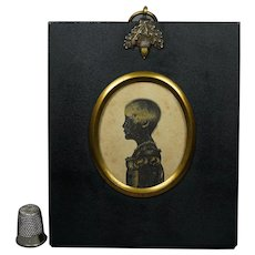 19th Century Bronzed Silhouette Of A Girl Child Called Eliza, Georgian Circa 1805