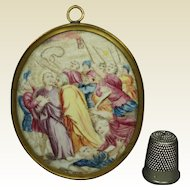18th Century French Miniature Enamel on Copper Painting Circa 1760 The Arrest of Christ/ Kiss of Judas