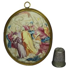 RESERVED ES.....18th Century French Miniature Enamel on Copper Painting Circa 1760 The Arrest of Christ/ Kiss of Judas