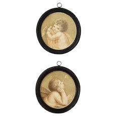 18th Century Georgian Pair Miniature Stipple Engravings On Silk Putti Dove F Bartolozzi After Cipriani Circa 1780s