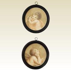 18th Century Georgian Pair Miniature Stipple Engravings On Silk Putti Dove F Bartolozzi After Cipriani Circa 1780s