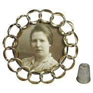 Antique 19th Century Miniature Brass Ring Circular Photo Frame English Circa 1870