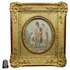Superb 18th Century Small Gilt Gesso Rococo Frame, Colored Classical Stipple Engraving English Circa 1790