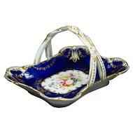Antique Coalport Porcelain Blue Basket Spring Flowers Sparks Worcester Queen Adelaide Circa 1845