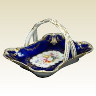 Antique Coalport Porcelain Blue Basket Spring Flowers Sparks Worcester Queen Adelaide Circa 1845
