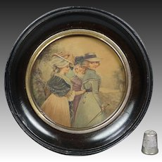 Antique Desirable 18th Century French Miniature Watercolor Painting Circa 1780 Georgian Fashionable Ladies Historical Costume