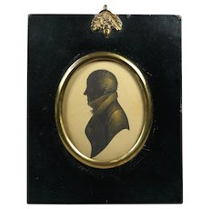 Antique Regency Quality Portrait Silhouette of a Gentleman, W Hill Papier Mache Frame Circa 1815
