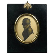 Antique Regency Quality Bronzed Portrait Silhouette of a Gentleman, W Hill Papier Mache Frame Circa 1815