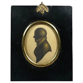 Antique Regency Quality Bronzed Portrait Silhouette of a Gentleman, W Hill Papier Mache Frame Circa 1815