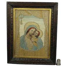 Antique Early 19th Century Embroidery Needlework Appliqué Picture Madonna Italian 1820 Georgian