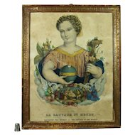 19th Century French Religious Lithograph Print Circa 1840 Shabby Chic Beautiful Salvador Mundi