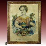19th Century French Religious Lithograph Print Circa 1840 Shabby Chic Beautiful Salvador Mundi