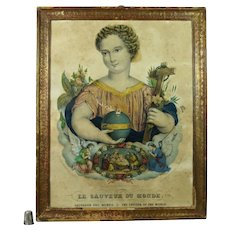 Antique 19th Century French Religious Lithograph Print Circa 1840 Shabby Chic Beautiful Salvador Mundi