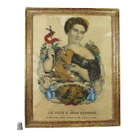 Antique 19th Century French Religious Lithograph Print John The Baptist Circa 1840 Shabby Chic