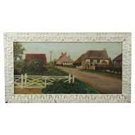 Vintage English Folk Art Village Landscape Oil On Canvas Naive Thatched Cottage East Wittering 1930 Primitive