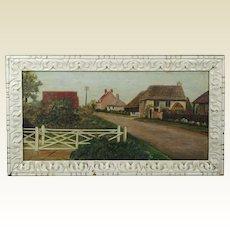 Vintage English Folk Art Village Landscape Oil On Canvas Naive Thatched Cottage East Wittering 1930 Primitive