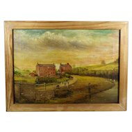 Vintage English Folk Art Oil On Canvas Landscape Painting Rural Shropshire Mill Scene T W Peake 1929
