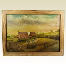 Vintage English Folk Art Oil On Canvas Landscape Painting Rural Shropshire Mill Scene T W Peake 1929