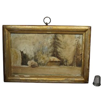 Antique 19th Century Miniature Watercolor Landscape Painting Cabin In The Woods Dated 1851