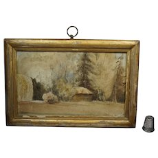 Antique Victorian Miniature Painting Cabin In The Woods Watercolor Landscape Dated 1851