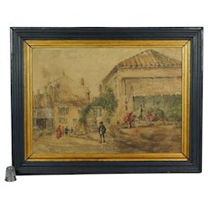 Antique French Watercolor Painting Market Scene Circa 1918