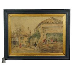 Antique French Watercolor Painting Market Scene