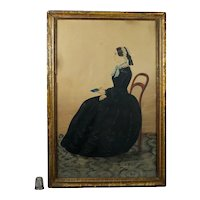 Antique  19th Century Folk Art Watercolor Portrait, Full Length Young Lady Governess, Teacher, Jane Eyre Circa 1845
