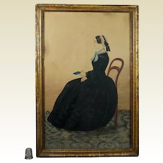 Stunning 19th Century Full Length Primitive Folk Art Watercolor Portrait Young Lady Governess Teacher Jane Eyre Circa 1845
