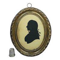 Circa 1780s Silhouette by the famous Mrs Sarah Harrington, Federal Georgian Era, Pressed Brass Frame AF