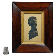 19th Century Regency Portrait Silhouette Girl Miss Shore Cut Paper Circa 1815