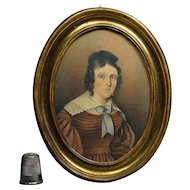 Georgian Portrait Miniature Lady Brown Dress Circa 1825 Exceptional Quality