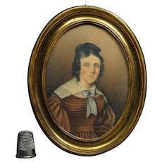 Georgian Portrait Miniature Lady Brown Dress Circa 1825 Exceptional Quality
