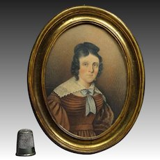 Antique 19th Century Portrait Miniature Georgian Lady Circa 1825 Exceptional Quality