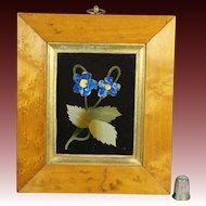 Antique 19th Century Italian Pietra Dura Hardstone Flower Panel Birds Eye Maple Frame Circa 1870