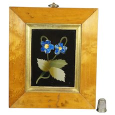 Antique 19th Century Italian Pietra Dura Hardstone Flower Panel Birds Eye Maple Frame Circa 1870