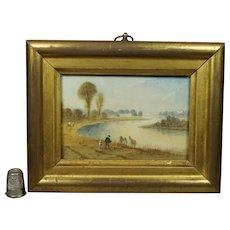 19th Century Regency Miniature Watercolor Painting River Landscape Scene English Circa 1820