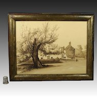 19th Century Painting English Manor House Country Estate Circa 1830