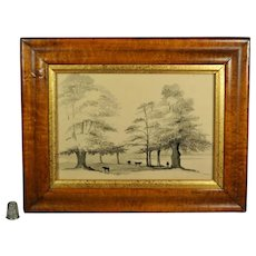 Antique 19th Century Georgian Pen And Ink Painting En Grisaille English Landscape With Cattle Circa 1840