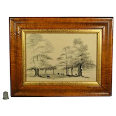 Georgian Pen And Ink Painting En Grisaille English Landscape With Cattle Circa 1830s